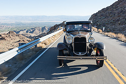 An old Ford heads up the steep mountain pass just out of Palm Desert on the Palms to Pines Scenic Byway on the last day of the Motorcycle Cannonball Race of the Century. Stage-15 ride from Palm Desert, CA to Carlsbad, CA. USA. Sunday September 25, 2016. Photography ©2016 Michael Lichter.