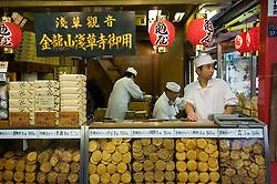 Rice cracker shop on Nakamise dori at Senso Ji Temple Tokyo Japan