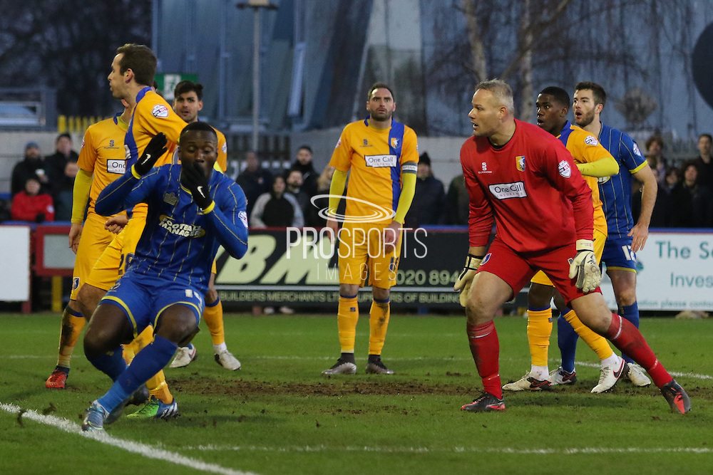 Ade Azeez of AFC Wimbledon in action during the Sky Bet League 2 match between AFC Wimbledon and Mansfield Town at the Cherry Red Records Stadium, Kingston, England on 16 January 2016. Photo by Stuart Butcher.