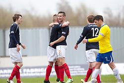 Falkirk's Kieran Duffie (2) celebrates after scoring their third goal..Falkirk 4 v 1 Morton, 4/5/2013..© Michael Schofield..