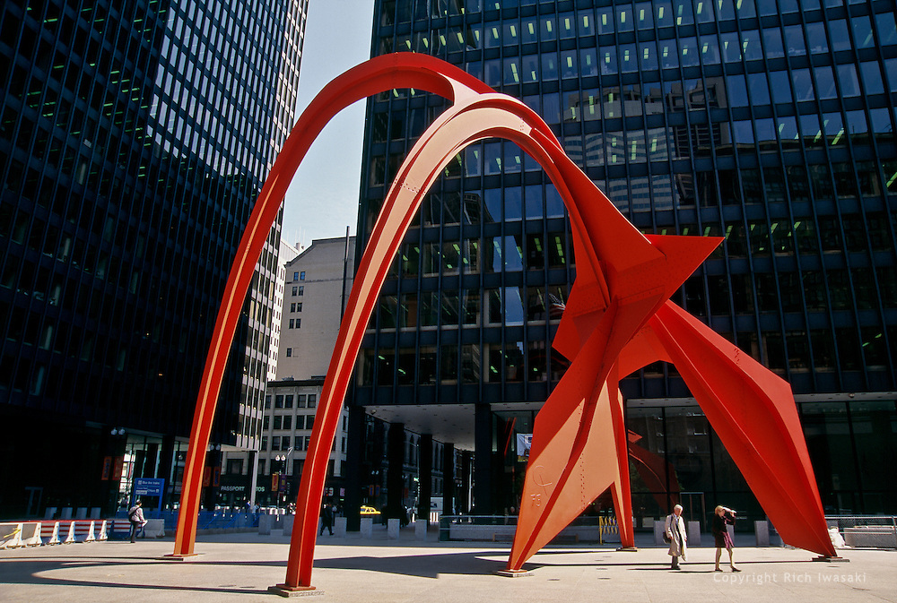 """Flamingo"" sculpture by Alexander Calder at Federal Center Plaza, Chicago, Illinois"
