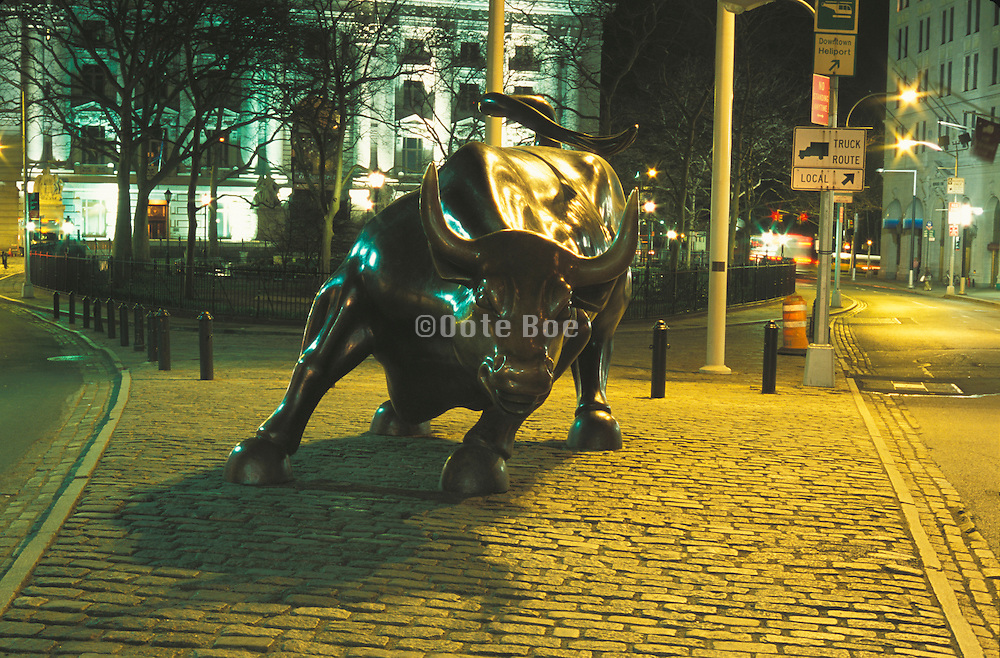 Bull symbol of the stock market on Broadway in downtown Manhattan