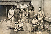 the best workers of a village posing for a photo April 1921 Manut France