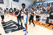 THOUSAND OAKS, CA Sunday, August 12, 2018 - Nike Basketball Academy. Isaiah Stewart 2019 #23 of La Lumiere School answers questions for the media. <br /> NOTE TO USER: Mandatory Copyright Notice: Photo by Jon Lopez / Nike
