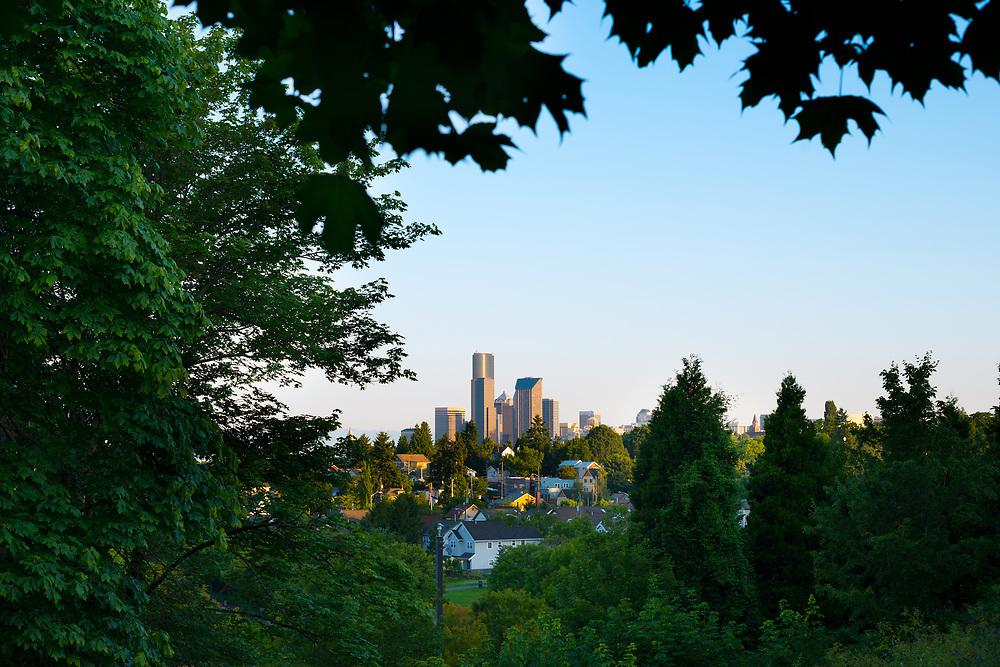 Downtown skyline and Mount Baker neighborhood, Rainier Valley District, Seattle, Washington State, USA