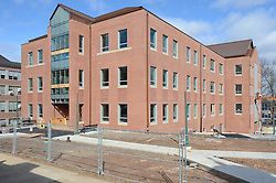 Central Connecticut State University.  New Academic Building.  Project No: BI-RC-324.Architect: Burt Hill Kosar Rittelmann Associates    Contractor: Gilbane Building Company, Glastonbury, CT..James R Anderson Photography   New Haven CT   photog.com.Date of Photograph: 4 March 2013   Image No. 05.Camera View: Northeast. Site Overview from Davidson Hall Steps, West and South Elevations.