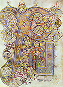 Monogram page from 'The Book of Kells' 'Christi Auteum Generatio' 6th century manuscript of the Four Gospels