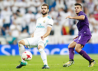 Real Madrid's Nacho Fernandez (l) and ACF Fiorentina's Giovanni Simeone during Santiago Bernabeu Trophy. August 23,2017. (ALTERPHOTOS/Acero)