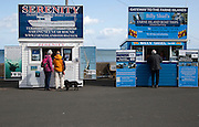 Boat trip ticket sales booths to the Farne Islands at Seahouses, Northumberland, England, UK