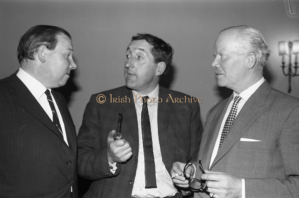 24/04/1965<br /> 04/24/1965<br /> 24 April 1965<br /> Ted Moult (BBC personality) in Dublin for launch of Fund raising Week for a Multiple Sclerosis Rest Centre at the Russell Hotel. While in  appeared on the Late Late Show that night. Picture shows Mr. Ted Moult (centre) chatting with Mr. Ervin Stewart of Dublin, Chairman of the Multiple Sclerosis Society of Ireland  and Mr. Peter Greville, Council Member of the Society and member of the Fund Raising Committee.