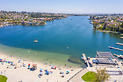 High Angle Aerial View of Mission Viejo Real Estate and Lake