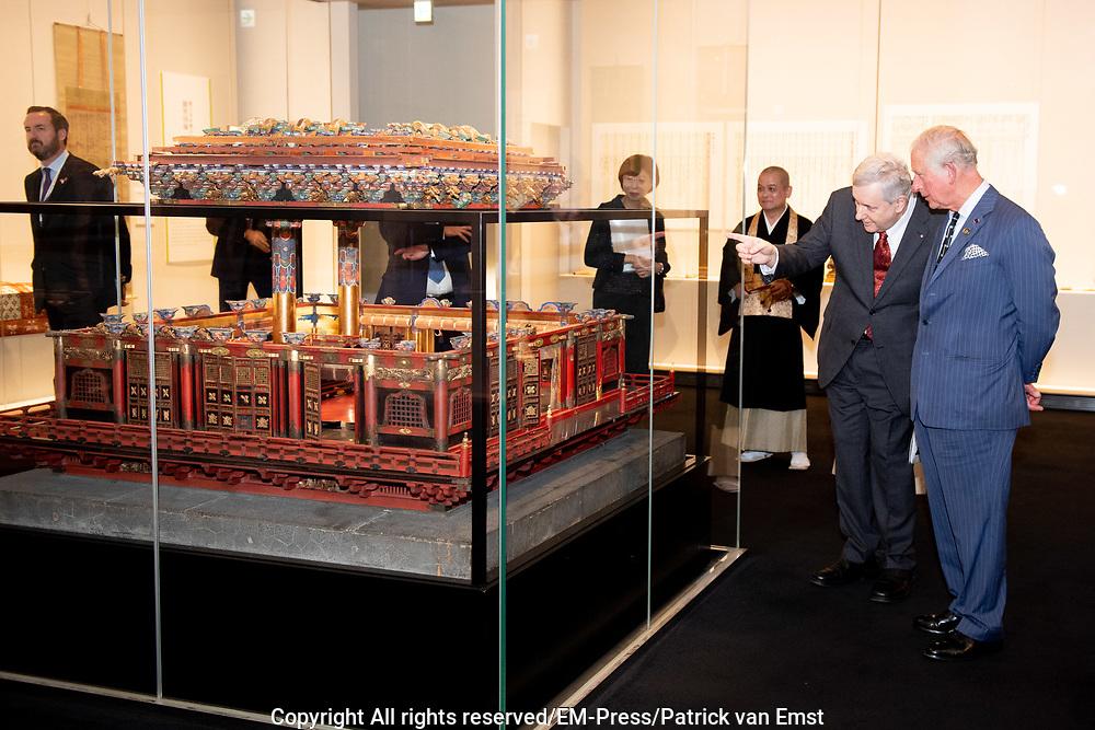 Prince Charles visits the Zojoji Temple, Tokyo, Japan.<br /> <br /> On the photo: Prince Charles and Yagi-daika, the Head Monk of Zojoji