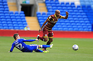 Karl Henry of Queens Park Rangers is tackled by Declan John of Cardiff city. EFL Skybet championship match, Cardiff city v Queens Park Rangers at the Cardiff city stadium in Cardiff, South Wales on Sunday 14th August 2016.<br /> pic by Andrew Orchard, Andrew Orchard sports photography.