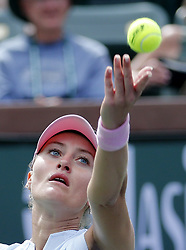 March 7, 2019 - Los Angeles, California, U.S - Kristina Mladenovic of France, serves the ball to Saisai Zheng of China, during the women singles first round match of the BNP Paribas Open tennis tournament on Thursday, March 7, 2019 in Indian Wells, California. Mladenovic won 2-0. (Credit Image: © Ringo Chiu/ZUMA Wire)