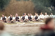 London, Great Britain, <br /> Oxford in the opening stages of the race.<br /> 147th Oxford vs Cambridge Varsity Boat Race, Over the Championship Course, Putney To Mortlake. 24.03.2001<br /> <br /> [Mandatory Credit: Peter SPURRIER/Intersport Images]<br /> <br /> Crews. <br /> <br /> Oxford UBC. Bow. Robin BOURNE-TAYLOR,  MF BONHAM, EB LILLEAHI, Ian WEIGJELL, Dan SNOW, Brian PALM. Matt SMITH cox JC MONCRIEFF. [Mandatory Credit; Peter SPURRIER/Intersport Images]<br /> <br /> 20010324 University Boat Race, Putney to Mortlake, London, Great Britain.
