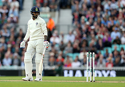 India's Lokesh Rahul is dismissed by England's Sam Curran (not in picture) during the test match at The Kia Oval, London.