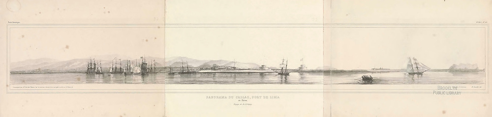Ancient 19th century Panoramic sketch of the seaport of Callao, Lima, Peru. From the book 'Voyage dans l'Amérique Méridionale' [Journey to South America: (Brazil, the eastern republic of Uruguay, the Argentine Republic, Patagonia, the republic of Chile, the republic of Bolivia, the republic of Peru), executed during the years 1826 - 1833] Atlas By: Orbigny, Alcide Dessalines d', d'Orbigny, 1802-1857; Montagne, Jean François Camille, 1784-1866; Martius, Karl Friedrich Philipp von, 1794-1868 Published Paris :Chez Pitois-Levrault. Publishes in Paris in 1846-1847
