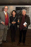 NICHOLAS LOGSDAIL, ESRA JOO, LEE UFAN at the Whitechapel Gallery Art Icon 2015 Gala dinner supported by the Swarovski Foundation. The Banking Hall, Cornhill, London. 19 March 2015