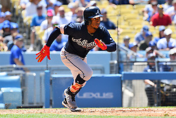June 10, 2018 - Los Angeles, CA, U.S. - LOS ANGELES, CA - JUNE 10: Atlanta Braves Second base Ozzie Albies (1) hustles to first base during a MLB game between the Atlanta Braves and the Los Angeles Dodgers on June 10, 2018 at Dodger Stadium in Los Angeles, CA. (Photo by Brian Rothmuller/Icon Sportswire) (Credit Image: © Brian Rothmuller/Icon SMI via ZUMA Press)