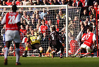 Photo. Javier Garcia<br />02/03/2003 Arsenal v Charlton, FA Barclaycard Premiership, Highbury<br />Dean Kiely kept the score down to 2-0 and saves here from Edu