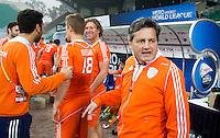 NEW DELHI -   Bondscoach Paul van Ass na de gewonnen kwartfinale van  de finaleronde van de Hockey World League tussen de mannen van Nederland en Duitsland (2-1) . ANP KOEN SUYK
