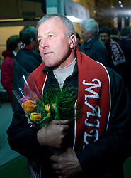 Father of Slovenian athlete Petra Majdic when she arrived home with cristal globus at the end of the nordic season 2008/2009, on March 23, 2009, at airport Jozeta Pucnika, Brnik, Slovenia. (Photo by Vid Ponikvar / Sportida)