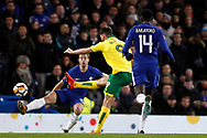 Nelson Oliveira of Norwich City (2R) takes a shot at goal. The Emirates FA Cup, 3rd round replay match, Chelsea v Norwich City at Stamford Bridge in London on Wednesday 17th January 2018.<br /> pic by Steffan Bowen, Andrew Orchard sports photography.