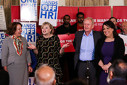 © Licensed to London News Pictures. 03/05/2017. Batley, UK. L-R Labour candidate Thelma Walker, Batley MP Tracy Brabin, Huddersfield MP Barry Shearman and Dewsbury MP Paula Sherriff at an event in Batley, West Yorkshire, to launch Labour's policy on healthcare and the NHS during the 2017 general election campaign. He promised that Labour would immediately stop proposed A&E and hospital closures across England. Photo credit : Ian Hinchliffe/LNP