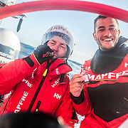 Leg 7 from Auckland to Itajai, day 13 on board MAPFRE, Cape Horn traditions, Rob Greenhalgh with a cigar, Blair tuke with rum, 30 March, 2018.