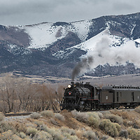 Nevada Northern Railroad Engine #93 pulling a passenger consist outside of Ely Nevada on the Keystone Route.