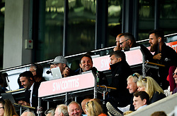 Ali Hephur laughs with Rob Baxter, Julian Salvi, Rob Hunter and Gareth Elliot - Mandatory by-line: Ryan Hiscott/JMP - 21/09/2019 - RUGBY - Sandy Park - Exeter, England - Exeter Chiefs v Bath Rugby - Premiership Rugby Cup
