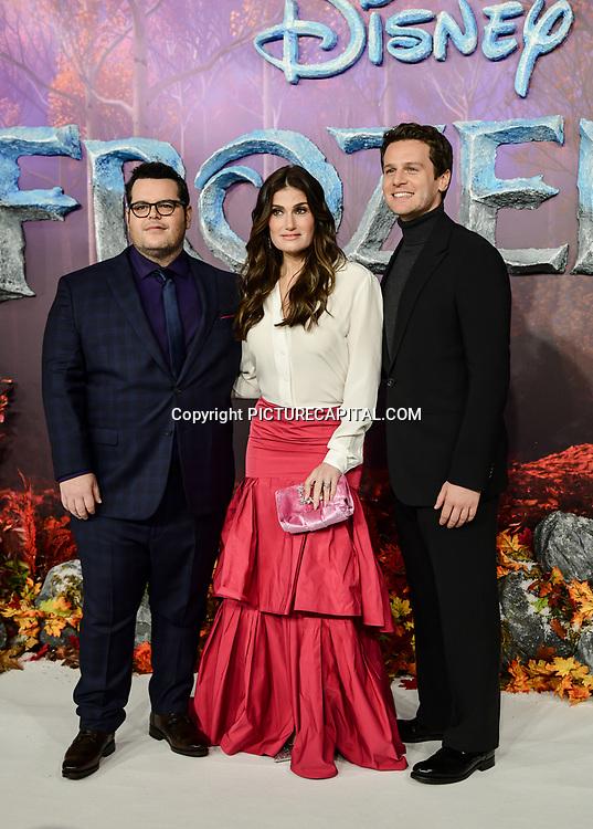 Josh Gad, Idina Menzel, Jonathan Groff attend European Premiere of Frozen 2 on 17 November 2019, BFI Southbank, London, UK.