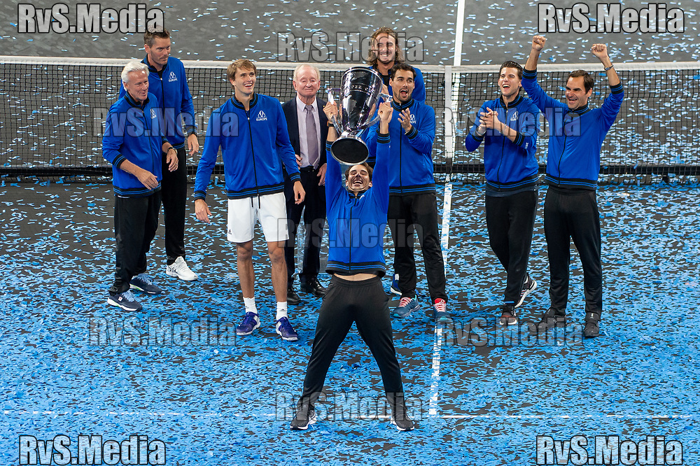 GENEVA, SWITZERLAND - SEPTEMBER 22: Rafael Nadal of Team Europe celebrates with the trophy during Day 3 of the Laver Cup 2019 at Palexpo on September 20, 2019 in Geneva, Switzerland. The Laver Cup will see six players from the rest of the World competing against their counterparts from Europe. Team World is captained by John McEnroe and Team Europe is captained by Bjorn Borg. The tournament runs from September 20-22. (Photo by Monika Majer/RvS.Media)