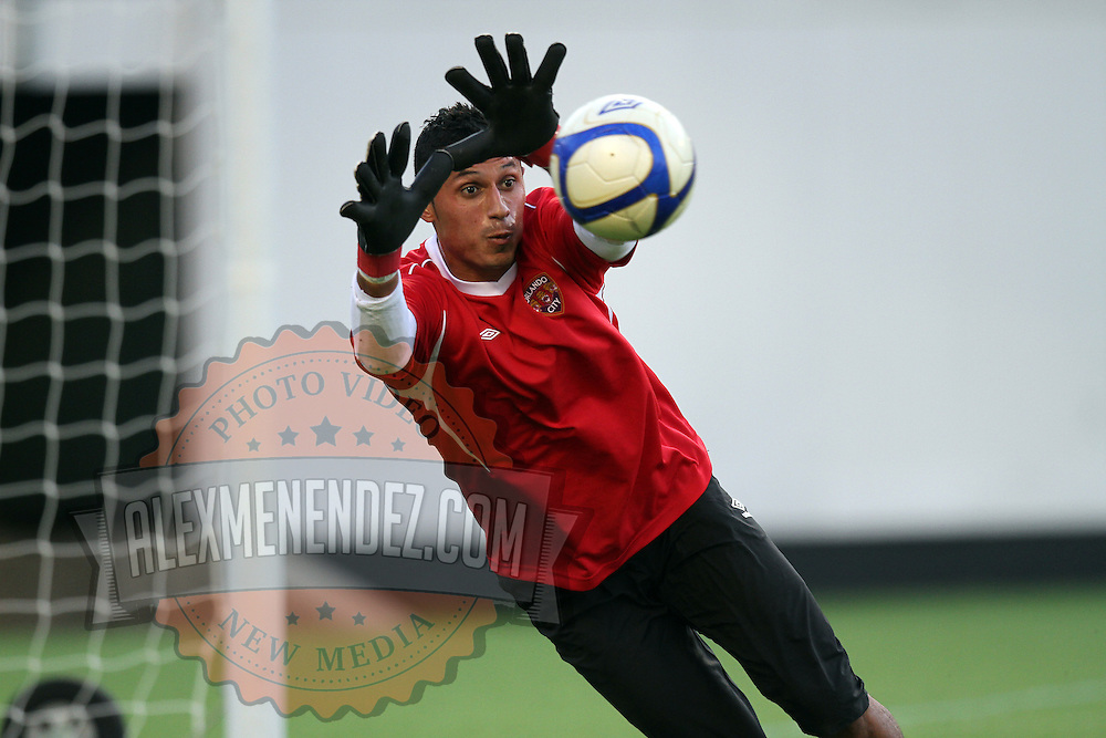 Orlando City goalkeeper Miguel Gallardo warms up prior to a United Soccer League Pro soccer match between Puerto Rico United and the Orlando City Lions at the Florida Citrus Bowl on April 22, 2011 in Orlando, Florida.  (AP Photo/Alex Menendez)