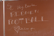 11/7/07 Smith Center, KS.Chalkboard at Smith Center High School with a message for the head coach of football, Roger Barta...(Chris Machian/Prairie Pixel Group)