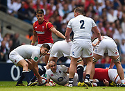 England's Ben Youngs looks to distribute the ball from the base of a ruck during the The Old Mutual Wealth Cup match England -V- Wales at Twickenham Stadium, London, Greater London, England on Sunday, May 29, 2016. (Steve Flynn/Image of Sport)