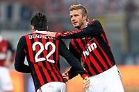 """Marco BORRIELLO e David BECKHAM Milan<br /> Milano 6/1/2010 Stadio """"Giuseppe Meazza""""<br /> Milan - Genoa 5-2<br /> Campionato Italiano Serie A 2009/2010<br /> Foto Andrea Staccioli Insidefoto"""