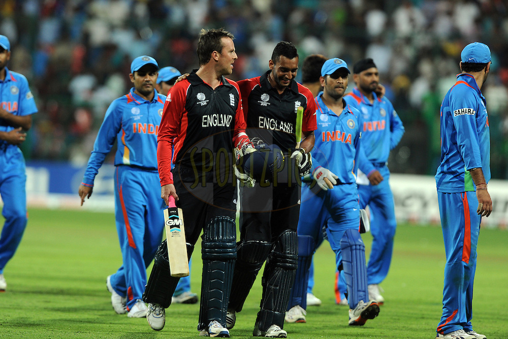 Players return after the draw during the ICC Cricket World Cup match between India and England held at the M Chinnaswamy Stadium in Bengaluru, Bangalore, Karnataka, India on the 27th February 2011..Photo by Pal Pillai/BCCI/SPORTZPICS