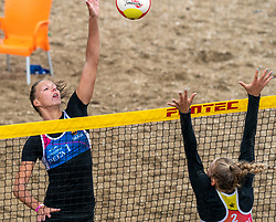Katja Stam in action. The DELA NK Beach volleyball for men and women will be played in The Hague Beach Stadium on the beach of Scheveningen on 22 July 2020 in Zaandam.
