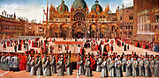 Gentile Bellini, Procession of the True Cross in Piazza San Marco, 1496; Tempera & oil on canvas; Accademia, Venice. Gentile Bellini (c. 1429 – February 23, 1507) was an Italian painter. Born in Venice, the son of the painter Jacopo Bellini, he was christened Gentile after Jacopo's master, Gentile da Fabriano.[1] From 1474 he was the official portrait artist for the Doges of Venice.