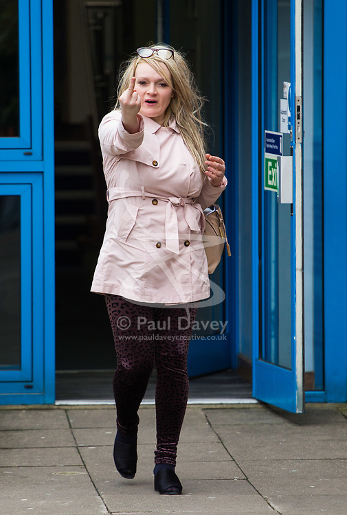 Natalia Woolley, 41, of Kensington and Chelsea, West London, outside Uxbridge Magistrate's Court where she pleaded guilty to being drunk and disorderly after being found semi naked by police in her neighbour's home. Uxbridge, April 11 2018.