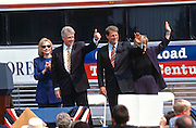 US President Bill Clinton with first lady Hillary Clinton and Vice President Al Gore during a campaign stop on their bus tour August 30, 1996 in Cape Girardeau. MO.