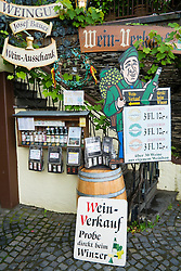 Wine merchant shop display in historic Beilstein village on River Mosel in Germany