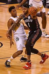 January 11, 2019 - Toronto, Ontario, Canada - Kyle Lowry #7 of the Toronto Raptors against D'Angelo Russell #1 of the Brooklyn Nets during the Toronto Raptors vs Brooklyn Nets NBA regular season game at Scotiabank Arena on January 11, 2019, in Toronto, Canada (Toronto Raptors win 122-105) (Credit Image: © Anatoliy Cherkasov/NurPhoto via ZUMA Press)