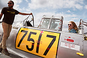 Volunteer and pilot after flight in Harvard at Warbirds Over the West.