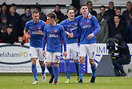 Goal, Oliver Hawkins of Portsmouth scores, Maidenhead United 0-2 Portsmouth during the The FA Cup 1st round match between Maidenhead United and Portsmouth at York Road, Maidenhead, United Kingdom on 10 November 2018.