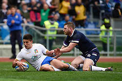 March 17, 2018 - Rome, Italy - Tommaso Allan of Italy scores a try during the NatWest 6 Nations Championship match between Italy and Scotland at Stadio Olimpico, Rome, Italy on 17 March 2018. (Credit Image: © Giuseppe Maffia/NurPhoto via ZUMA Press)