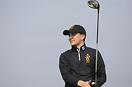 Josh Robinson (RBAI) on the 1st tee during the Final of the Irish Schools Senior Championship at Portstewart Golf Club, Portstewart, Co Antrim on Tuesday 23rd April 2019.<br /> Picture:  Thos Caffrey / www.golffile.ie