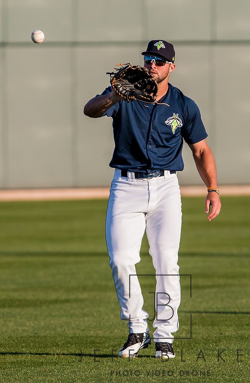 Columbia Fireflies left fielder Tim Tebow during a game at Spirit Communications Park on April 11, 2017. Photo by Jeff Blake/Jeff Blake Photography