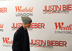 © Licensed to London News Pictures. 07/11/2011. London, UK. Jusitn Bieber attends a photocell ahead of the performance. Justin Bieber turns on Westfield, White City's, Christmas lights today 7th Novemeber 2011 and performs 4 songs.  Photo credit : Stephen Simpson/LNP